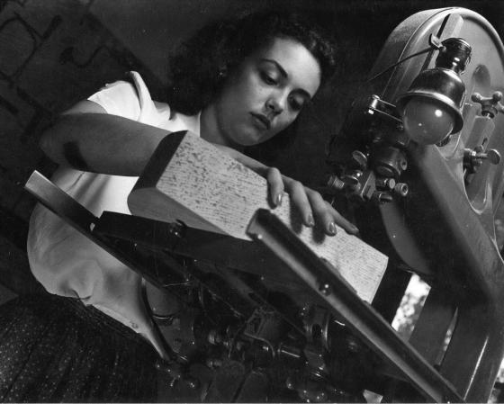 Virginia Mills working a saw, 1941.  Cranbrook Archives.