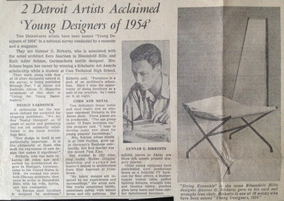 """2 Detroit Artists Acclaimed 'Young Designers of 1954.'"" News clipping, 1954.  Edward and Ruth Adler Schnee Papers, Cranbrook Archives."