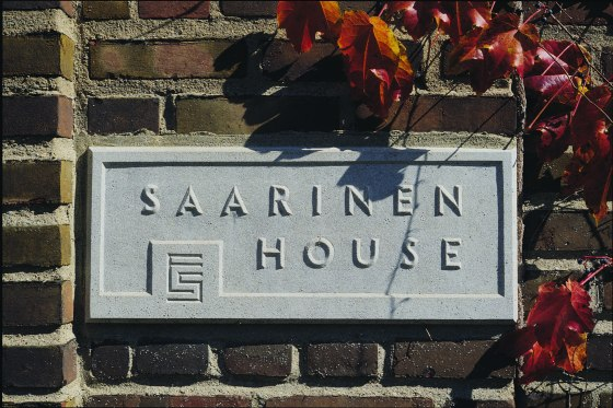 Exterior plaque, Saarinen House.  Considered part of the Cranbrook Art Museum, Saarinen House operates as a historic house open to tours from May to October.   The house is interpreted to the 1930s, when the Saarinen family first built and inhabited the home.  Copyright Cranbrook Art Museum/Balthazar Korab.