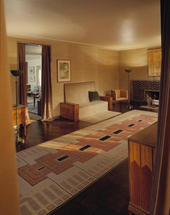 Eliel and Loja Saarinen's living room after it has been thoroughly cleaned and prepared.  Copyright Cranbrook Art Museum/Balthazar Korab.