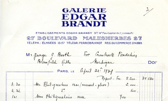 George Booth's receipt for the three objects in question.  Booth purchased the Heiligenstein/Chatrousse pieces from Edgar Brandt, a well-known French metalworker in the first portion of the twentieth century.