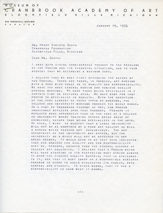 The first page of Eva Gatlin's nine-page letter to Henry Booth, 1954.  Henry Scripps Booth Papers, Cranbrook Archives.