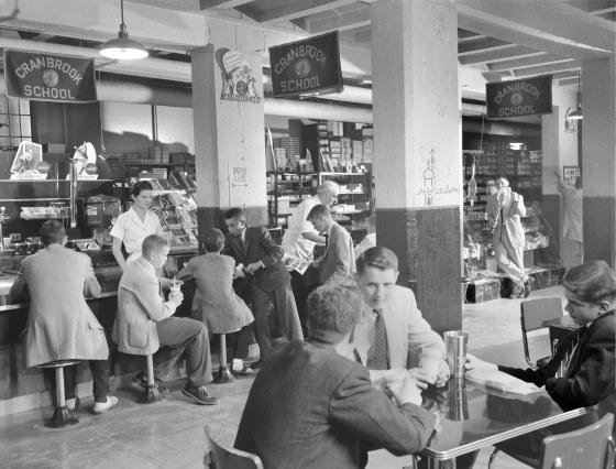 Students at the Cranbrook School Soda Fountain, May 1955.