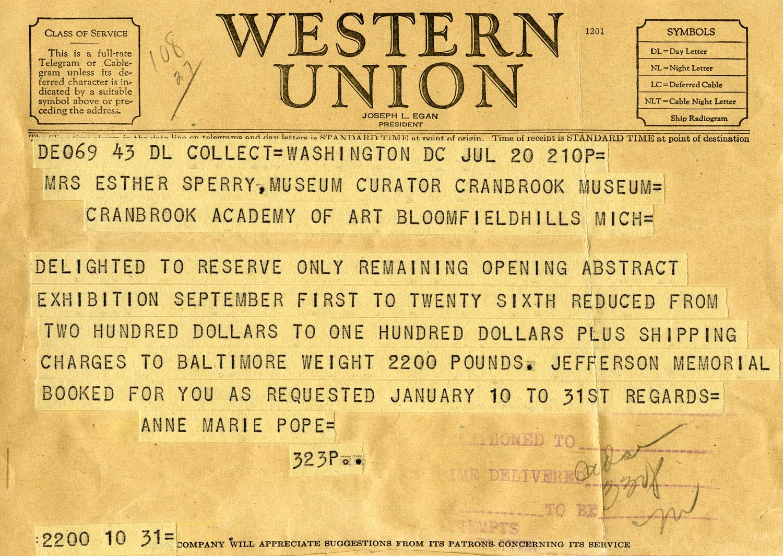 The first telegram I've ever seen.  1943, Cranbrook Archives.