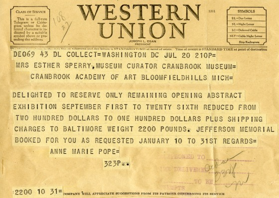 The first telegram I've ever seen.  1943, Cranbrook Archives.