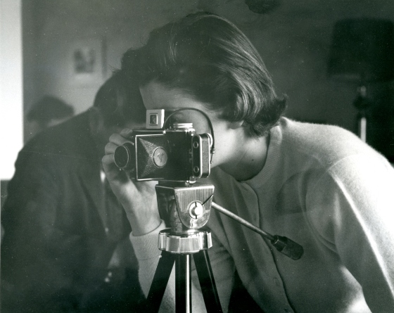 Suzanne Vanderbilt behind the camera.  Vanderbilt was a prolific photographer, and her many photographic slides are held in the archives.  Suzanne Vanderbilt Papers, Cranbrook Archives.
