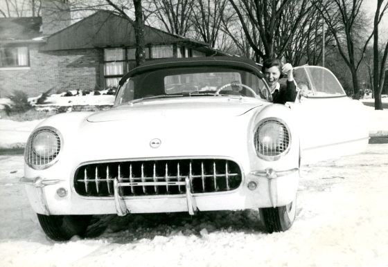 Suzanne Vanderbilt, again with her beloved Corvette, mid 1950s.  Suzanne Vanderbilt Papers, Cranbrook Archives.