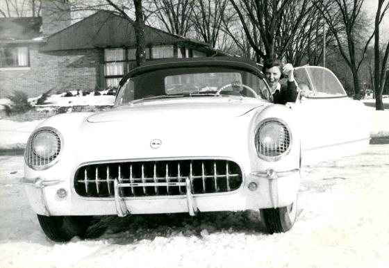 Suzanne Vanderbilt, again with her beloved Corvette, mid 1950s.  Suzanne Vanderbilt Papers, Cranbrook Archives.