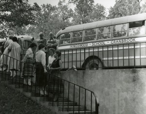 Kingswood students board the bus. Cranbrook Archives.