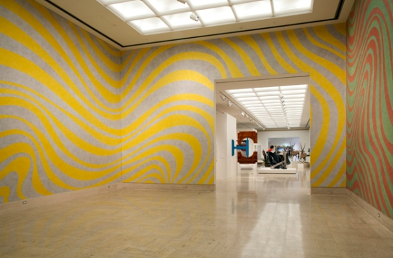 Sol LeWitt, Wall Drawings 790A and 790B: Irregular Alternating Color Bands (1995), currently on view at the Cranbrook Art Museum.  Photo, P.D. Rearick/Cranbrook Art Museum.