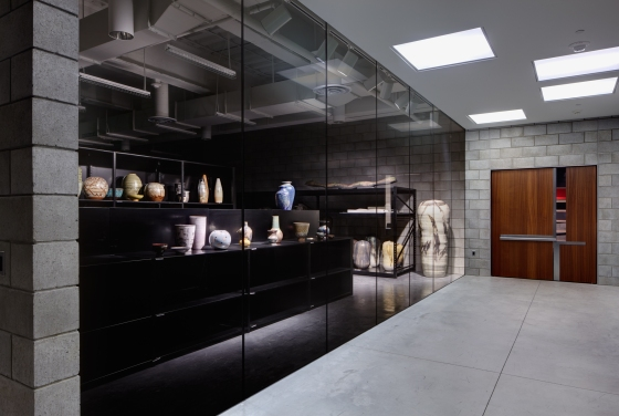 Ceramics vault in the newly built Collections Wing.  The first shelf is temporary shelving - it is used to curate within the collection. 2012. Jim Haefner/SmithGroup/Cranbrook Art Museum