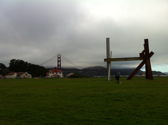 Mark Di Suvero, Old Buddy (For Rosko), 1993-95, at Crissy Field. 2013.  The tiny people and the white fluffy thing at the base are my brother and sister-in-law and their dog, Booker.