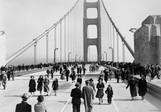 The Golden Gate Bridge opened to pedestrians for one day on May 27, 1937.  The next day, the bridge officially opened for motorists.  AP/Redwood Empire Association.