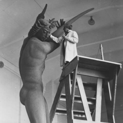 Carl Milles works on the central Orpheus figure for Stockholm's Orpheus Fountain, 1934.  Cranbrook Archives.