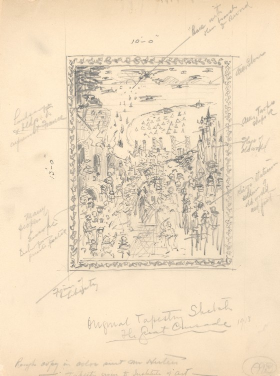 George Gough Booth's sketch for The Great Crusade tapestry, 1918.  George Gough Booth Papers, Cranbrook Archives.