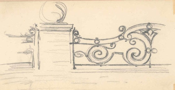 George Gough Booth sketch for a gate.  George Gough Booth Papers, Cranbrook Archives.