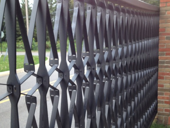 Closeup of Valley Way entrance gates, designed by Cranbrook Academy of Art Architect-in-Residence William Massie. The gates were completed in 2012.