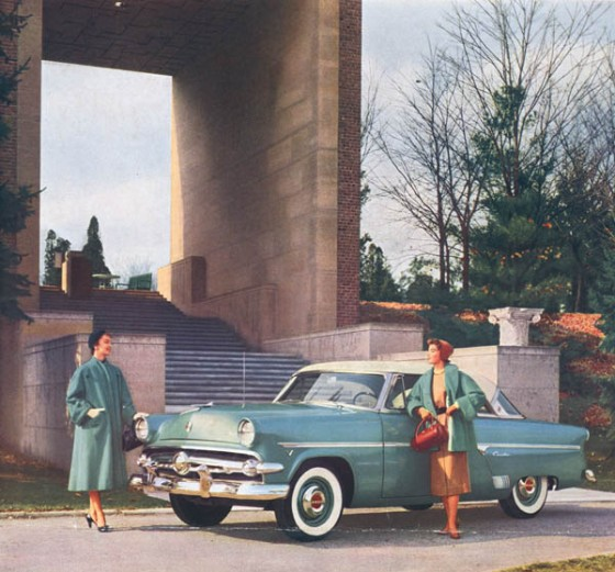 Advertisement for the '54 Ford, taken at the bottom of the Cranbrook Art Museum steps.  The ad was to appear in the February 1954 issues of Vogue, Harper's Bazaar and Town & Country. Cranbrook Archives.