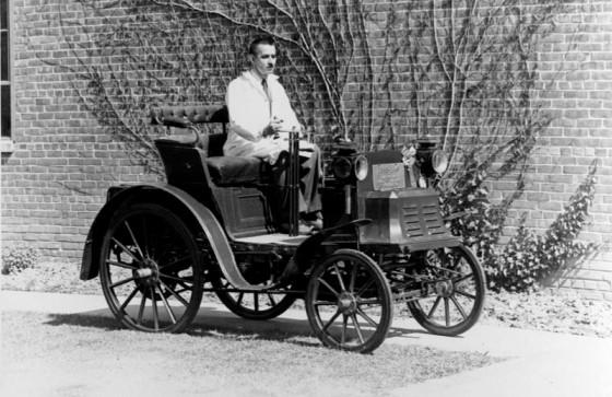 Floyd Bunt in his beloved 1898 Benz Landau at Cranbrook. Cranbrook Archives.