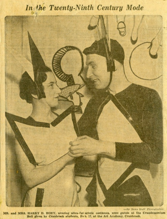 "The theme of the first Crandemonium Ball was the Court of Crandemonium. It prompted this newspaper article declaring that the party was in the ""twenty ninth century mode."" 1934, Cranbrook Archives."