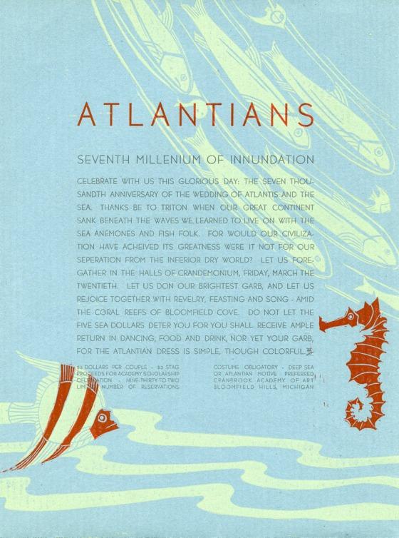 The 1936 Atlantis Crandemonium theme led to some amazing promotional material. 1936, Cranbrook Archives.