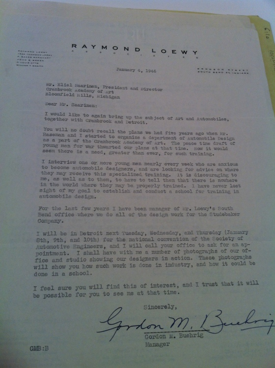 A letter from Gordon Beurhig, car designer and manager for Raymond Loewy, to Eliel Saarinen. 1946, Cranbrook Archives.