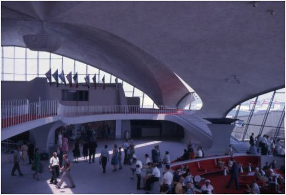 Interior shot of the TWA Flight Center.  Designed by Eero Saarinen, 1957-1961, opened in 1962 (after Saarinen's death).  Jack Goldman Papers, Cranbrook Archives.