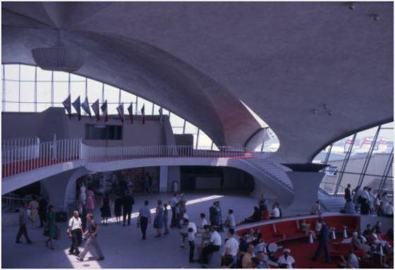 Interior shot of the TWA Flight Center.  Designed by Eero Saarinen, 1957-1961, opened in 1962 (after Saarinen's death).  Jack Goldman Papers, Cranbrook Archives.