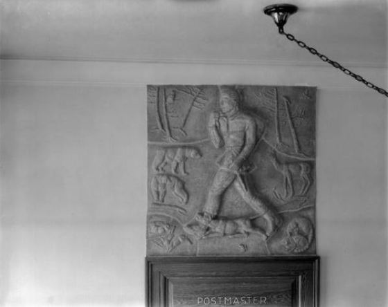 Marion Overby's terra cotta relief in Mason, Michigan.  1939, Cranbrook Archives.