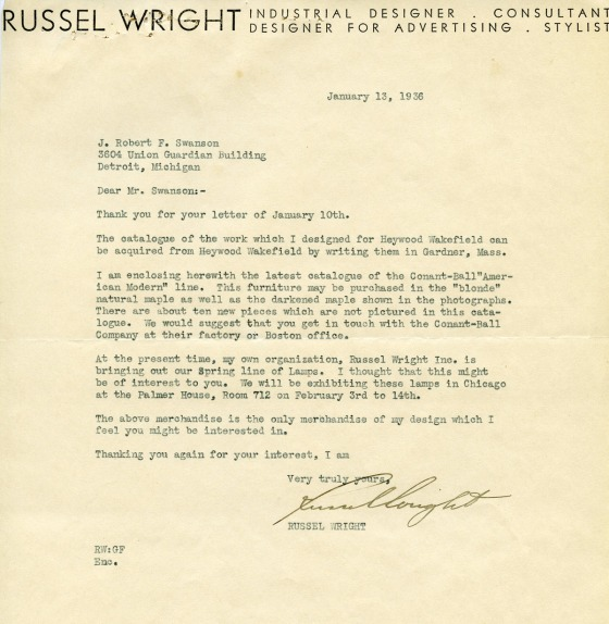 Russel Wright's response to J. Robert F. Swanson's request for information on his furnishings for Quartermore. 1936, Cranbrook Archives.