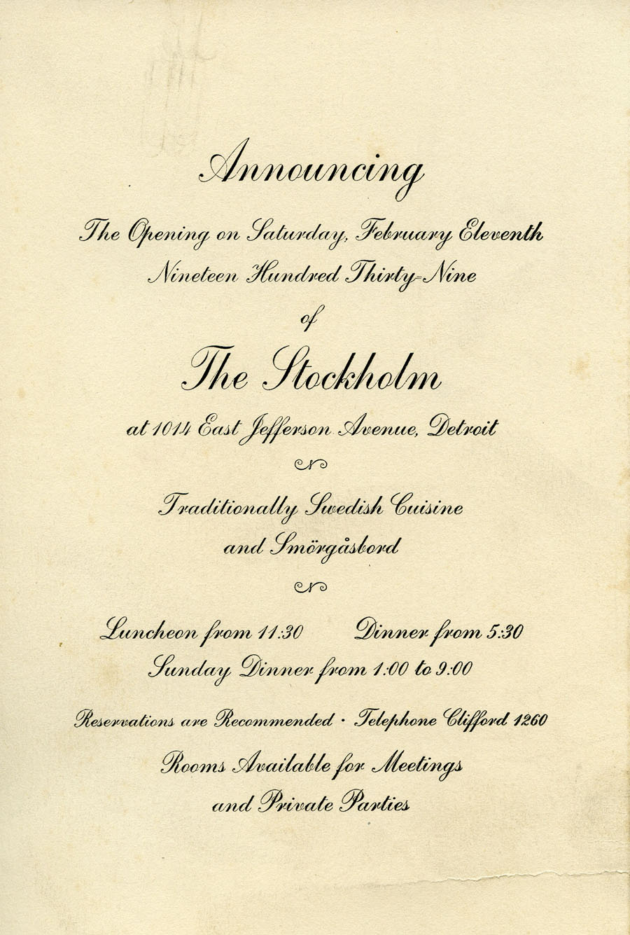 Dispatch for the archives the joys of processing cranbrook invitation to the opening of the stockholm restaurant in detroit 1939 cranbrook archives stopboris Gallery