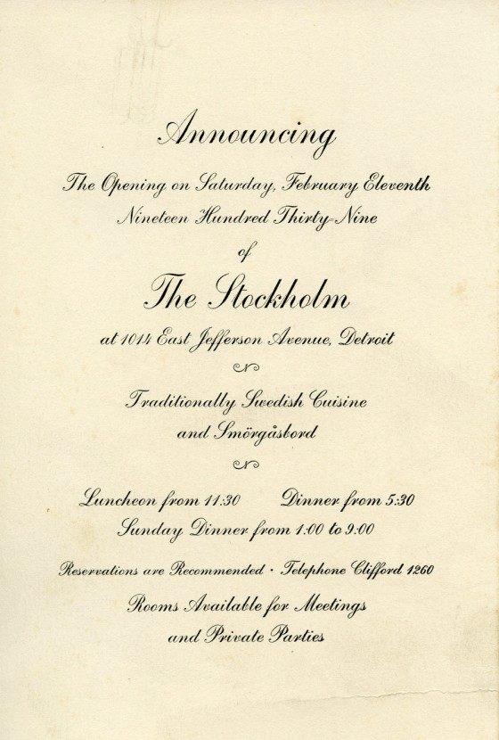 Invitation to the opening of The Stockholm Restaurant in Detroit. 1939, Cranbrook Archives.