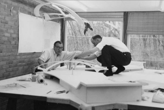 Eero Saarinen and Kevin Roche work on the TWA terminal model.  1957, Claude DeForest Papers, Cranbrook Archives.
