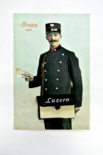 This postcard shows a Swiss postal worker with a small pouch. 1921, Cranbrook Archives