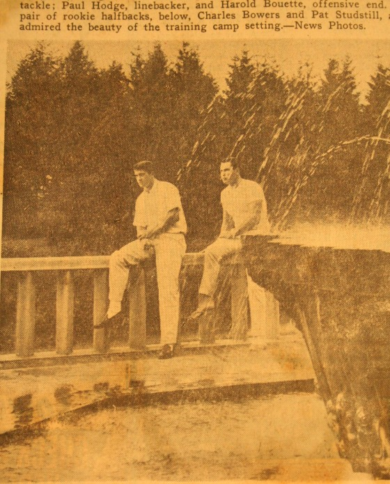 Players Charles Bowers and Pat Studstill take a break at Lake Jonah. Date unknown, Detroit News.