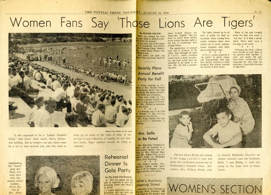 """Women Fans Say 'Those Lions are Tigers.' Pontiac Press, August 12, 1965."