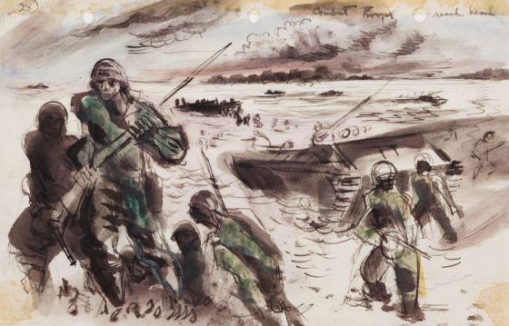 David Fredenthal, Combat Troops Reach Beach, c. 1941-1945. Cranbrook Art Museum.
