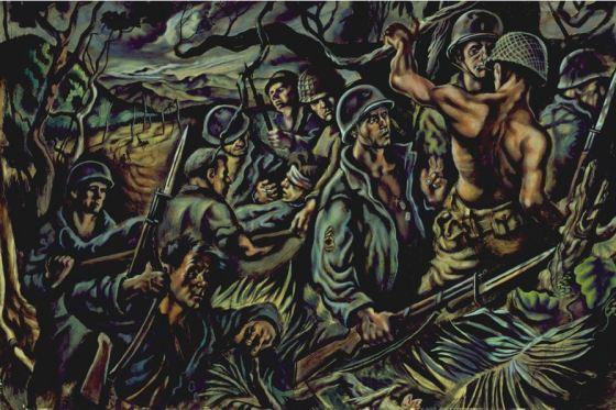 Jack Keijo Steele, Soldiers in New Guinea, 1943. Cranbrook Art Museum.