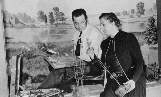 Marjorie Bingham and Dudley Blakely installing an exhibit, Cranbrook Institute of Science, 1945. Cranbrook Archives.