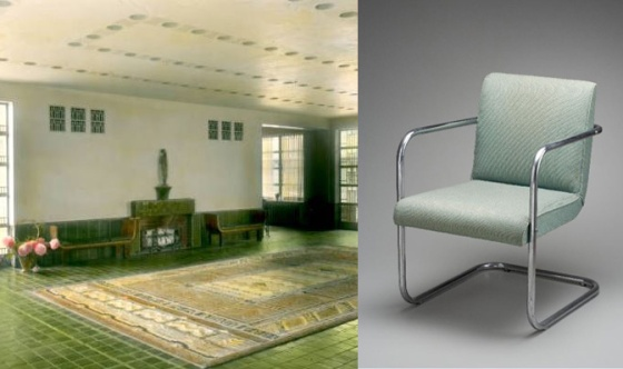 Left: Kingswood Green Lobby, circa 1932. George W. Hance, Hand-Colored Slide Collection. Cranbrook Archives. Right: Eero Saarinen (possibly manufactured by Ypsilanti Reed Furniture Company), 1930, CAM 1982.54.B. Cranbrook Art Museum.