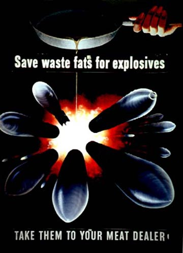 Poster advocating the re-use of waste fats in explosives. Henry Koerner, Printed by the Office of War Information, 1943. National Archives.