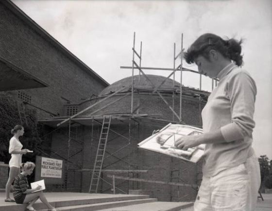 Students sketch the partially-completed McMath Planetarium at CIS. June, 1955. Harvey Croze/Cranbrook Archives.