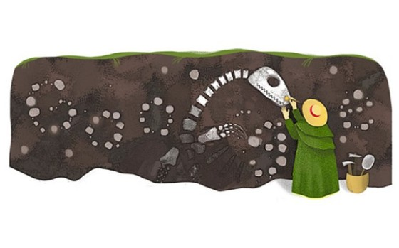 Google Doodle honoring Mary Anning's 215th birthday. Google.com.