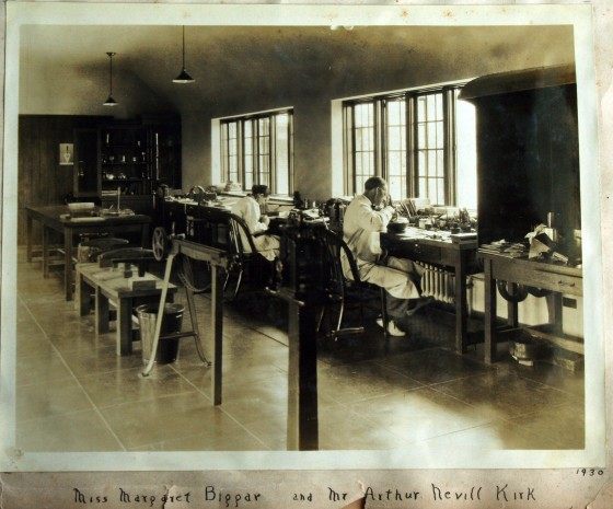 Famed metalsmith Arthur Nevill Kirk and apprentice Margaret Elleanor Biggar work in the metalsmithing studio at the Cranbrook Academy of Art, 1930. Cranbrook Archives.
