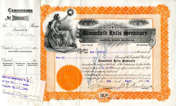 Stock certificate for the Bloomfield Hills Seminary issued in 1912/Courtesy Cranbrook Archives.