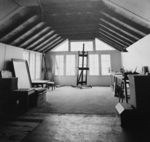 Interior of Marjorie Young's cabin in northern Michigan. Cranbrook Archives.