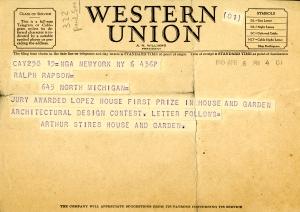 Ralph Rapson telegram