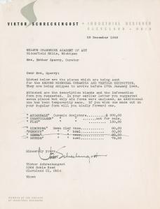Viktor Schreckengost letter, 1948