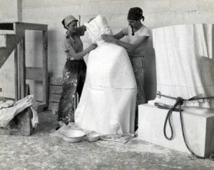 Frances Rich working on sculpture