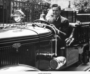 Dominick Vettraino at the wheel of Cranbrook's Fire Truck, ca. 1936. Vettraino Family Papers, Cranbrook Archives.